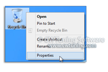 Remove the properties item of the «Recycle Bin» icon - WinTuning Utilities: Optimize, boost, maintain and recovery Windows 7, 10, 8 - All-in-One Utility