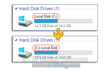 Show computer drive letters before drive name - WinTuning Utilities: Optimize, boost, maintain and recovery Windows 7, 10, 8 - All-in-One Utility