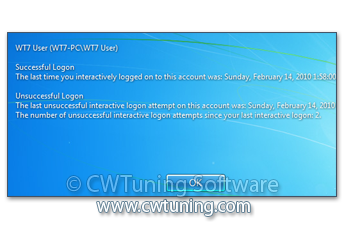 Display information about previous logon - This tweak fits for Windows 7