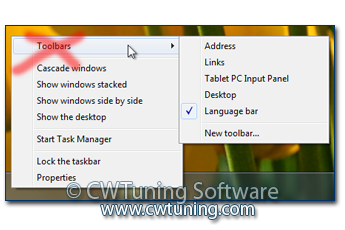 Do not display any custom toolbars in the taskbar - This tweak fits for Windows 7