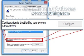 Disable changing settings of System Restore - This tweak fits for Windows 8