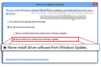 Don't search hardware drivers in Windows Update - This tweak fits for Windows 8