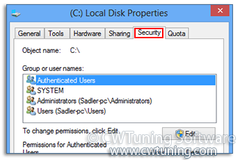 Remove the Security Tab - This tweak fits for Windows 8
