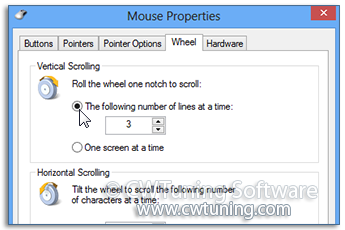 Change mouse's wheel scroll rate - This tweak fits for Windows 8