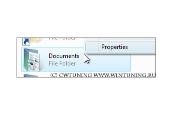 Remove Properties from the Documents icon context menu - This tweak fits for Windows Vista
