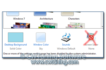 WinTuning 7: Optimize, boost, maintain and recovery Windows 7 - All-in-One Utility - Disable «Screen Saver» button